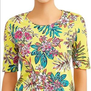 Time & Tru Floral Short Sleeve Top Yellow XL 16-18